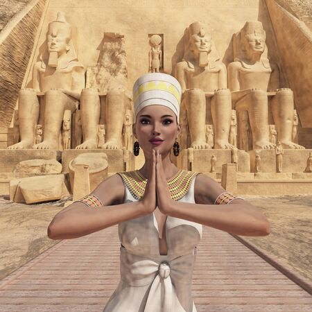Egyptian woman in front of the temple of Abu Simbel in Egypt