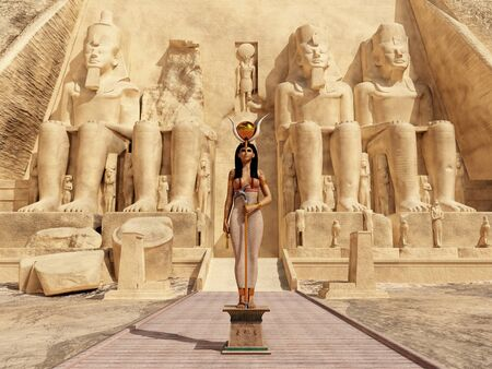 Goddess Hathor in front of the Temple of Abu Simbel in Egypt