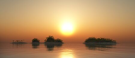 Tropical islands at sunset Imagens