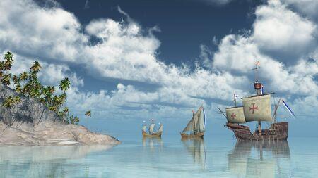 Santa Maria, Nina et Pinta de Christophe Colomb devant une île