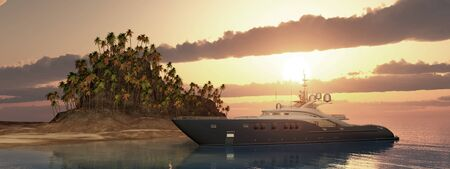 Luxury yacht and tropical island at sunset 写真素材