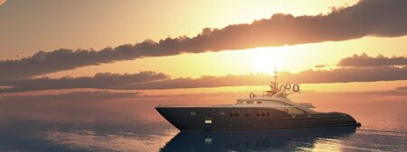 Luxury yacht at sunset