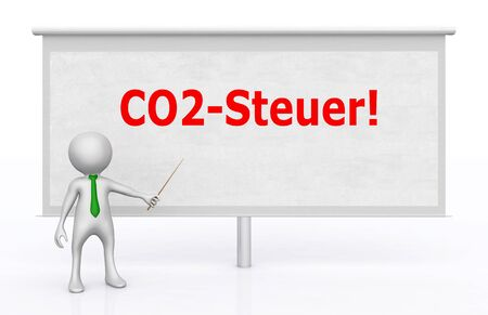 3D figure in front of a projection screen with the German word for CO2 tax Stok Fotoğraf