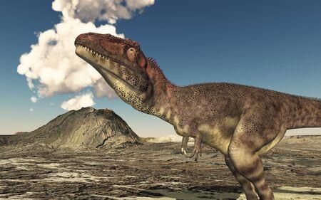 Dinosaur Mapusaurus and volcano