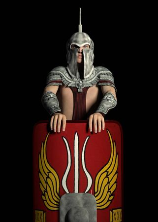 Praetorian guard in ancient Rome against a black background Archivio Fotografico - 132011567