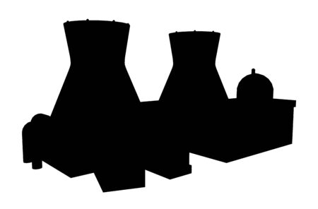 Silhouette of a nuclear power plant