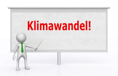 3D figure in front of a projection screen with the German word for climate change Stok Fotoğraf