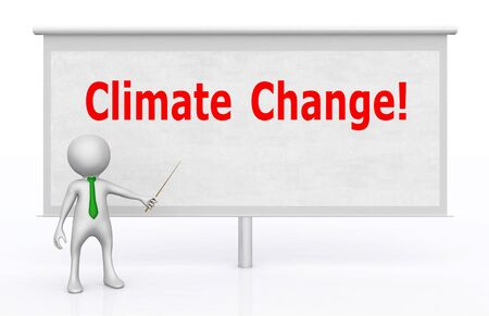 3D figure in front of a projection screen with the words Climate Change