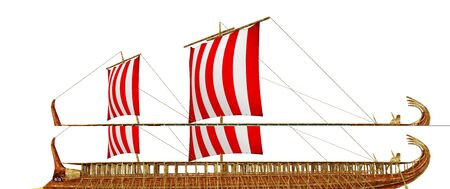 Ancient Greek warship isolated on white background Stok Fotoğraf