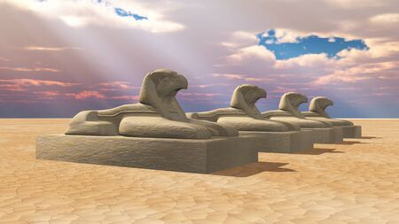 Horus sphinx in a desert landscape