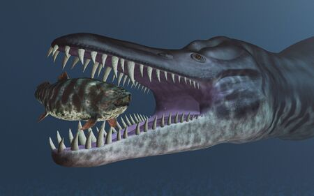 Liopleurodon attacks Rhizodus
