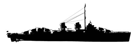 Silhouette of an American warship of World War II Stok Fotoğraf