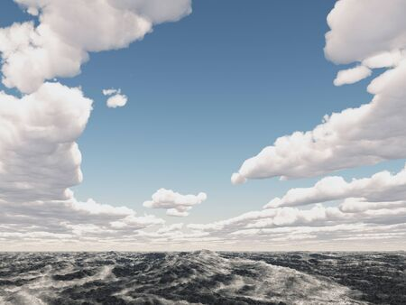 Ocean landscape with clouds