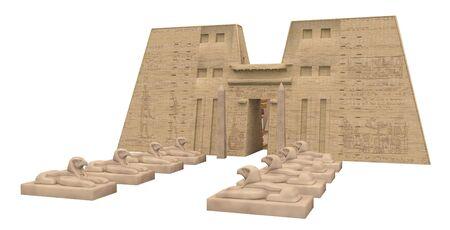 Temple of Edfu in Egypt isolated on white background Stok Fotoğraf