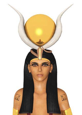 Egyptian goddess Hathor isolated on white background Stok Fotoğraf