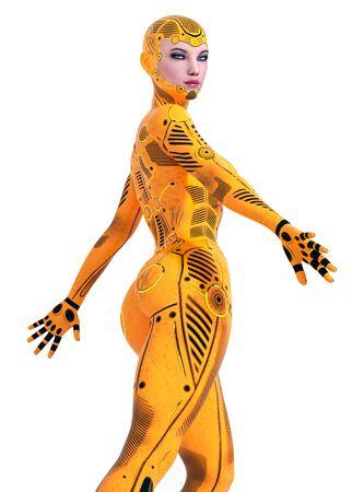 Humanoid robot isolated on white background Stok Fotoğraf