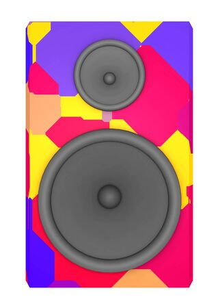 Loudspeaker box in colors isolated on white background Stok Fotoğraf