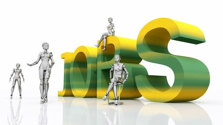 The word JOBS in colors with 3D figures against a white background Stok Fotoğraf