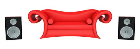 Red sofa and speaker boxes isolated on white background