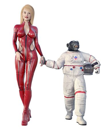 Young woman and chimpanzee in spacesuit isolated on white background