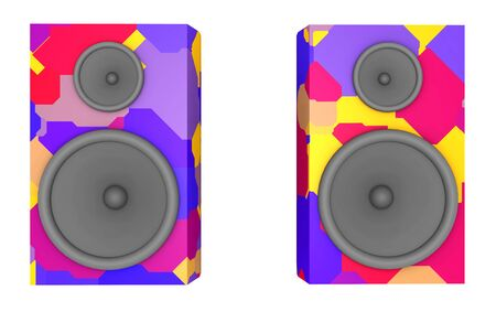 Two loudspeaker boxes in colors isolated on white background Stok Fotoğraf