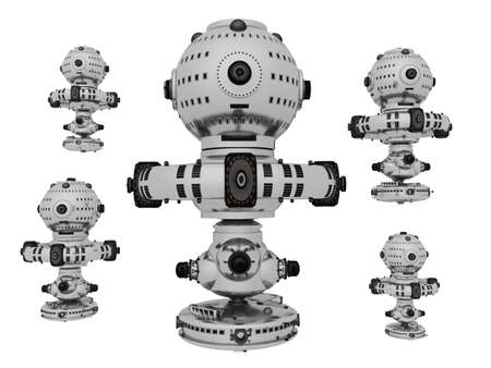Spacecrafts isolated on white background