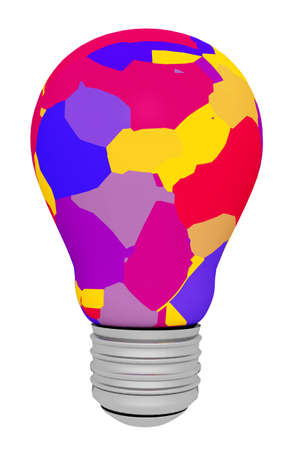 Colorful light bulb isolated on white background