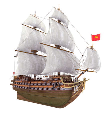 French warship of the 18th century isolated on white background