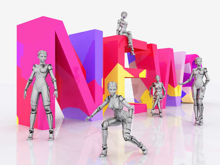 The word News with 3D figures against a white background