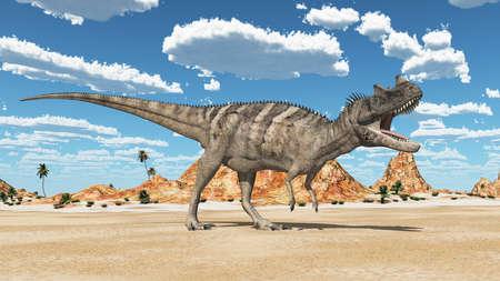 Dinosaur Ceratosaurus in a desert