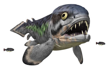 Prehistoric fish Rhizodus isolated on white background Stok Fotoğraf