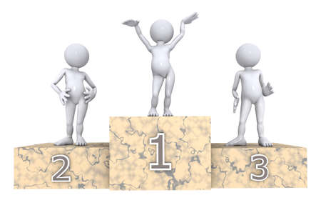 Winners podium with 3D figures isolated on white background Stok Fotoğraf