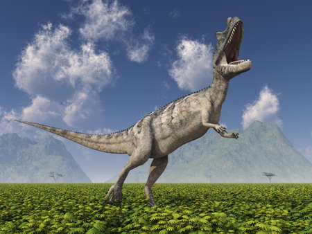 Dinosaur Ceratosaurus in a landscape