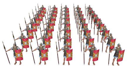 Roman legionaries isolated on white background Stok Fotoğraf