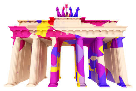Brandenburg Gate in colors isolated on white background