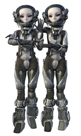 Aliens posing in futuristic space suit isolated on white background Stok Fotoğraf