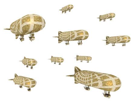 Fantasy airships isolated on white background