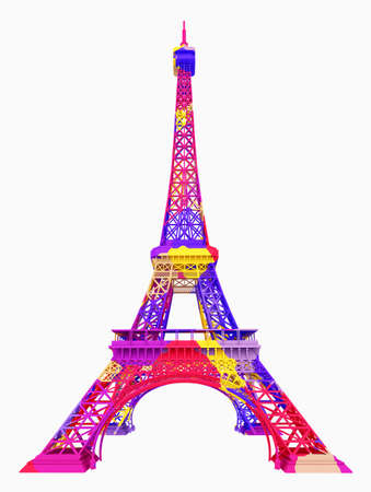 Eiffel Tower in colors isolated on white background