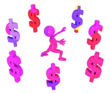 Dollar signs with 3D figure isolated on white background Stok Fotoğraf