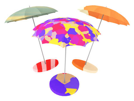 Three colorful parasols isolated on white background