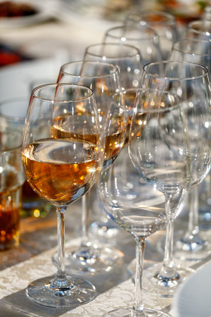 glases: Wine in the glases on the buffet table Stock Photo