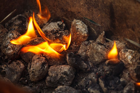 briquettes: Close up of charcoal briquettes ready for barbecue grill.