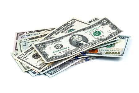 dollar: primi piani obiettivo macro da un centinaio di nuovi dollari di fatture Archivio Fotografico