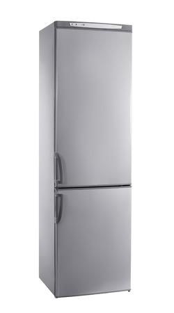 白で隔離三四半期のスタジオ ショットの大きなステンレス冷蔵庫 写真素材