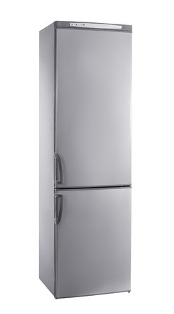 three-quarter studio shot big stainless steel refrigerator isolated on white Stock Photo