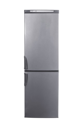 major household appliance: studio shot big stainless steel refrigerator with bottom freezer isolated on white Stock Photo