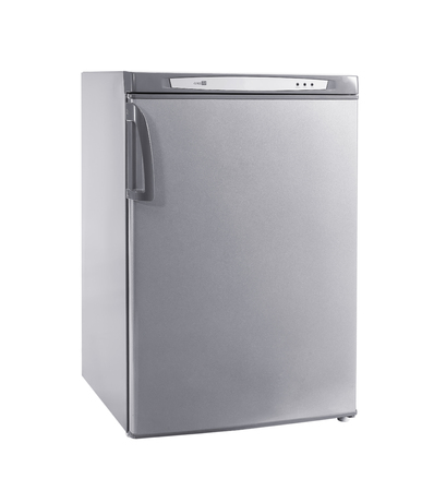 refrigerator: three-quarter studio shot small stainless steel refrigerator isolated on white