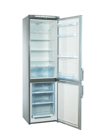 major household appliance: three-quarter studio shot big stainless steel refrigerator with bottom freezer isolated on white Stock Photo