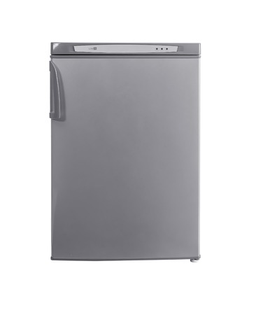 major household appliance: three-quarter studio shot small stainless steel refrigerator isolated on white