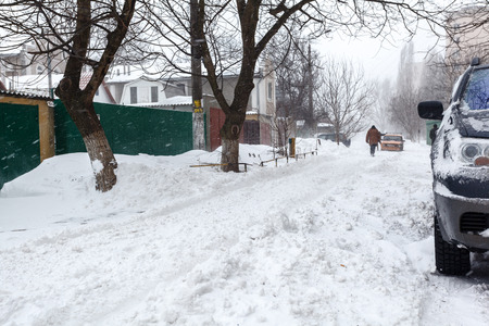 snowbank: Winter street with lots of snow in Odessa Stock Photo